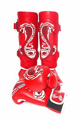 Sidekick Real Leather Red Cobra Series Muay Thai Kickboxing Gloves Set RRP £70
