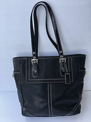 Coach Handbag Black Leather Purse Hampton Legacy Tote Bag  - F10412