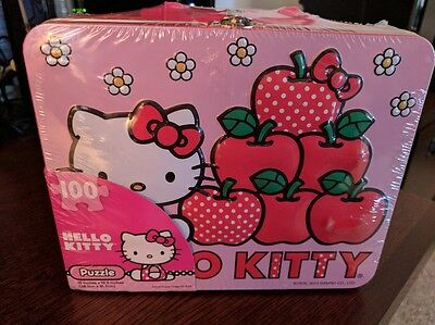NEW Hello Kitty Metal Lunch Box W/ 100 Piece Puzzle SEALED