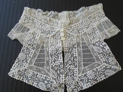 Exquisite Antique Edwardian French Bobbin Lace/french Whitework High Collar