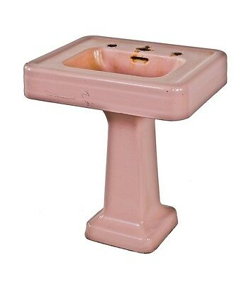 Art Deco Pink Porcelain Or Vitreous Enameled Cast Iron Interior Residential Sink