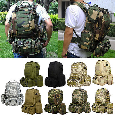 55L Large Outdoor Military Molle Camping Backpack Tactical Camping Hiking Bags