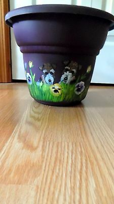 Wire Fox  Terrier  Hand Painted  Flower Pot Wft