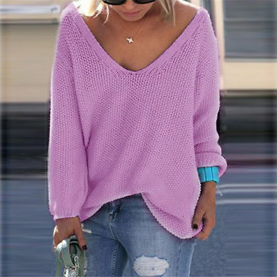 New Casual Loose Long Sleeve Sweater Women V-neck Lady Pullover Jumper Tops