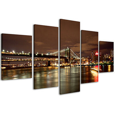 Quadri Moderni 200 x 90 cm Stampe su Tela Canvas XXL Quadro New York Bridge #084