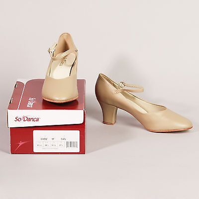 New in Box! SO DANCA Style CH52 Tan Character Shoes 2 Inch Heel Size 8.5 L Dance