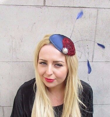 Navy Blue Red Ivory Statement Feather Fascinator Hair Clip Hat Races Ascot 2376