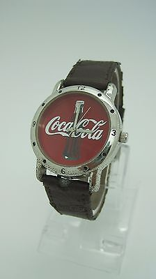 Coca Cola RED FACE Watch Brown Leather Coca-cola band 2002 NEW BATTERY RUNS