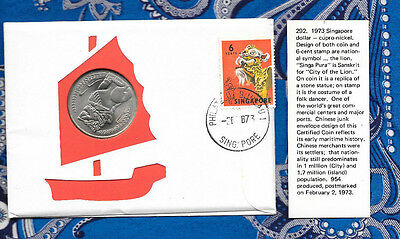 Singapore Dragon 1 Dollar 1973 UNC and Dragon stamp w/ info cards