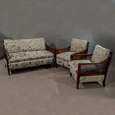 Antique Bergere Cane Three Piece Suite - Settee & Armchairs English Mid-20th C