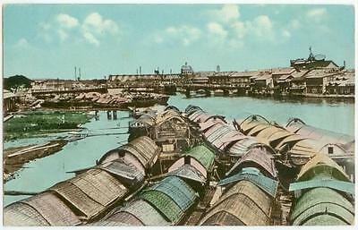 c1910 Manila Philippines The Pasig River and Casco Freighters