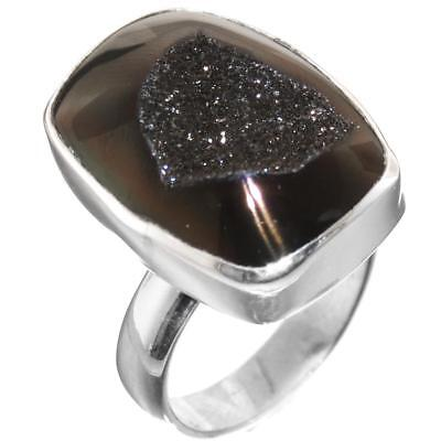 "US-MADE 3/4"" CHOCOLATE BROWN TITANIUM DRUZY ADJ SZ 7 925 STERLING SILVER ring"