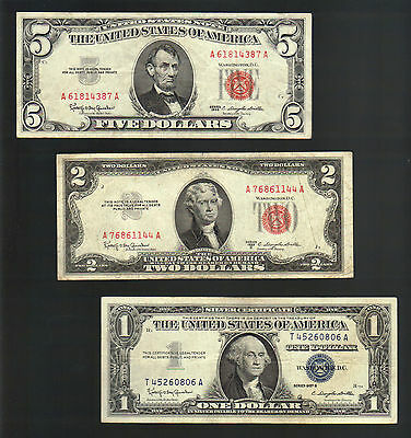 OLD MONEY $1 SILVER Certificate Blue Seal RED Seal $2 + $5 Dollar Bills US Notes