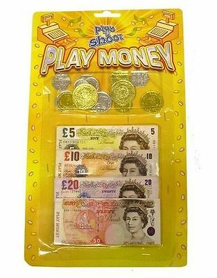 Kids Childrens Pretend Toy Fake Money ££ Cash Notes Coins Role Play At Shops New