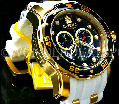 Invicta Men Pro Diver Scuba 48mm 18K Gold Plated Chrono Black Dial S.S Watch NEW