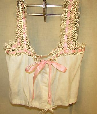 Edwardian Cotton Camisole With Tatted Trim, Pink Silk Lace Ribbon