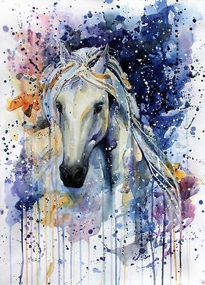Painting watercolour Horse 100% cotton Canvas Quality print wall art Home Decore
