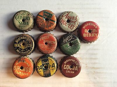 10  Different   Soda  Bottle Caps  -used  - Cork   Lined