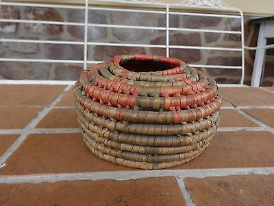 antique coiled basket native indian 1900's collectible vintage southwest LOOK!