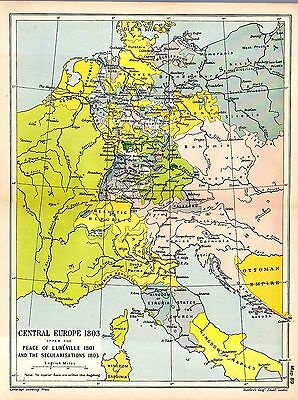 1912 ORIGINAL map Central Europe 1803 after Peace Luneville Secularisations 89