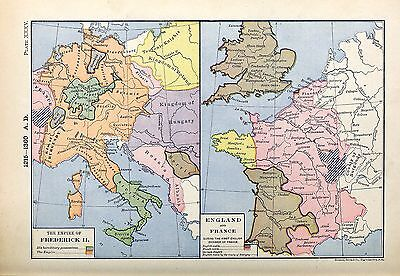 1905 map Empire Frederick II England France during First English Invasion 35