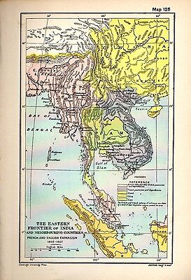 1912 ORIGINAL map India Neighbour Countries French English Expansion 1805-1807