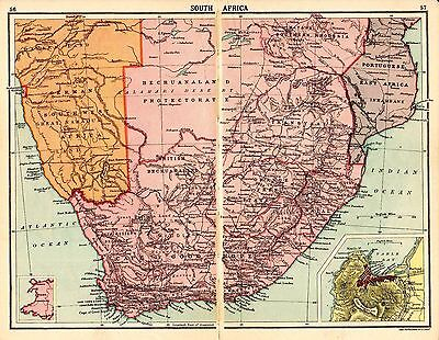 1880 ORIGINAL antique MAP SOUTH AFRICA Walker's Ideal atlas