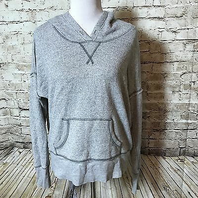 Aerie Women's Hoodie Sweatshirt Top Gray French Terry Cotton Blend Size Large