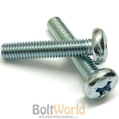 M4 / 4mm ZINC PLATED MACHINE SCREW POZI PAN HEAD DRIVE BOLTS SCREWS DIN7985