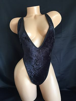 Exotic Dancer Stripper Black Plush Strappy Thong Romper Dancewear