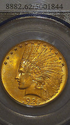 1926 $10 Gold Indian Head Eagle PCGS-MS62 Uncirculated