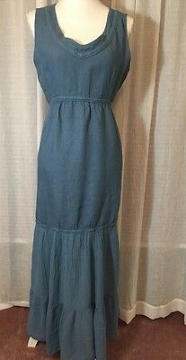 c768f1a6105 CARLA CONTI ITALY BLUE LINEN   GAUZE SLEEVELESS DRESS Size M-made In ITALY