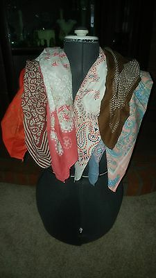 Lot of 8 Misc. Bandanas Scarves Floral Pink Red White Blue Brown