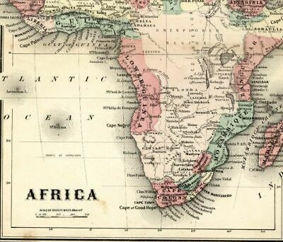 Africa Unexplored Region Mts. of Moon named 1865 Colton small antique map