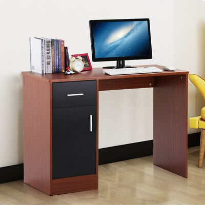 Compact Computer Desk With 1 Drawers 1 Door Home Office Study Table Furniture