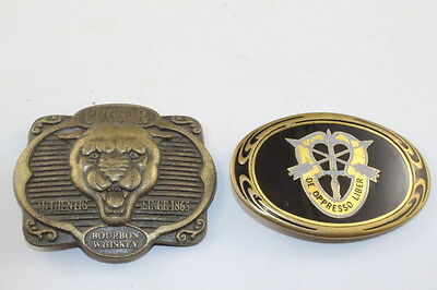 Rare Solid Brass USA Special Forces Buckle & Cougar Bourbon Whiskey Belt Buckle