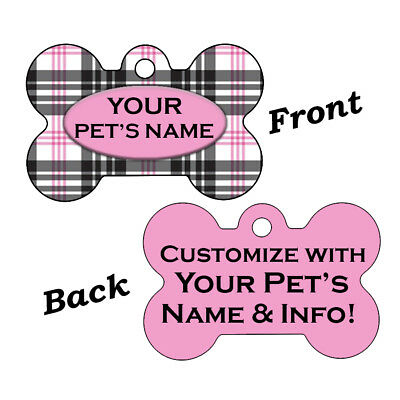Custom Double Sided Plaid Pet Id Dog Tags Personalized for Your Pet