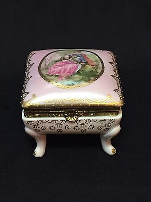 Footed Trinket Box German Porcelain Love Story Courting Couple Scene