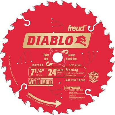 "Freud Diablo Carbide Teeth Circular Saw Blade 7 1/4"" 24T D0724A"