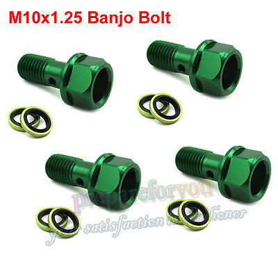 4x Green M10x1.25 Banjo Bolt For Pit Dirt Bike ATV Quad Go Kart Moped Motorcycle
