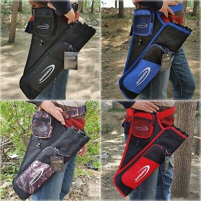 Black/Blue/Red 3 Tubes Arrow Quiver Archery Bow Arrow Hunting Bag Belt Pouch