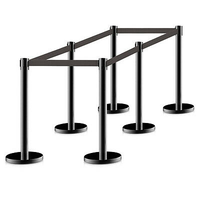 6PCS Retractable Belt Stanchion Posts Queue Pole Black Crowd Control Barrier