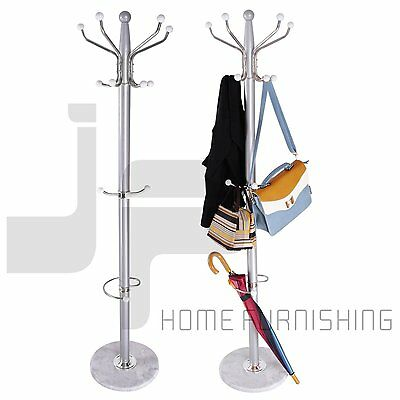 15 Hooks Tree Style Hat Coat Clothes Rack Wooden Umbrella Stand Marble Base Ring