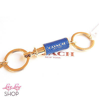 NEW COACH Blue Gold Leather Wrapped Valet 2 in 1 Key Chain Ring FOB NWT