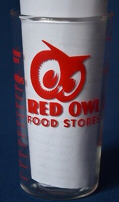 Vintage Red Owl Food Stores Measuring Glass ~1 Cup~8Oz.~Euc~