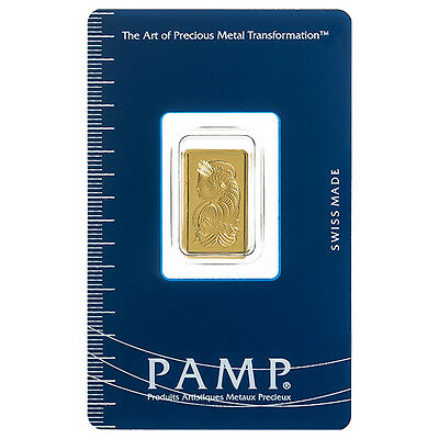 Pamp Suisse 2.5 Gram Gold Bar .9999 Fine with Sealed Assay Certificate