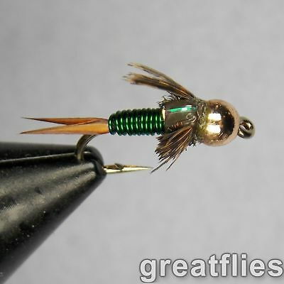 1 dozen (12) - Copper John - GREEN - Bead Head
