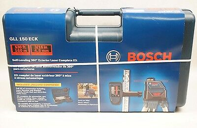 NEW Bosch GLL 150 ECK Self-Leveling 360 Exterior Laser Complete Kit 0601063K10