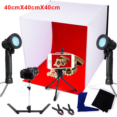 16'' Photo Studio Video Lighting Shooting Soft Box Light Tent Cube Backdrops KIT
