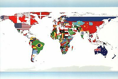 World Map Showing Flags by Country United States Australia Canada etc - Postcard
